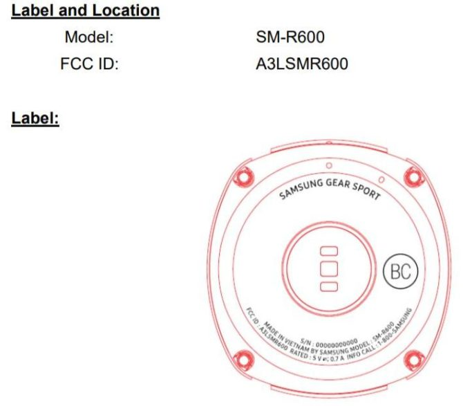 Samsung Gear Sport FCC-Label