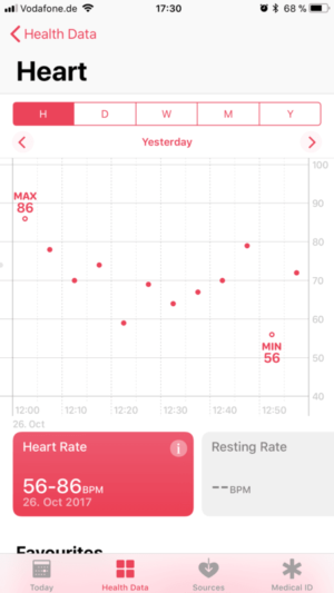 Apple Watch 3 heart rate monitor intervals