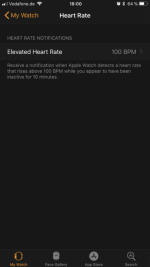Apple Watch App: Enable note if heart rate is too high