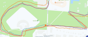 Polar Ignite (orange) vs Garmin FR245 (blue) vs actual run (reddish): GPS