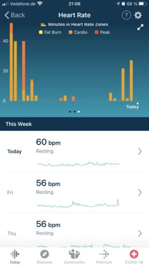 Fitbit Versa 3: HR / resting rate