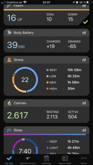 Garmin Connect 24/7 activity tracker